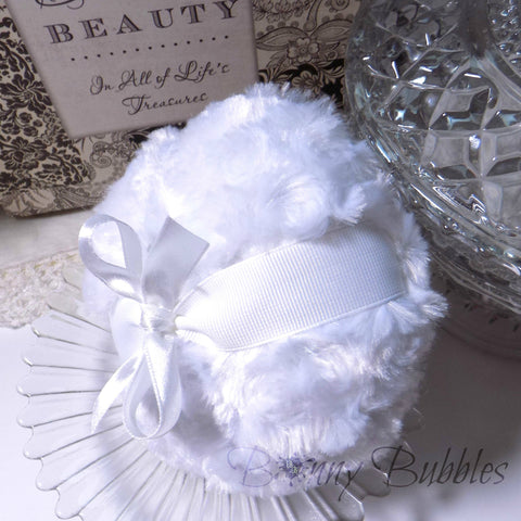 WHITE Powder Puff - bright white - blanc pouf - snow body pouf - gift box option - by BonnyBubbles