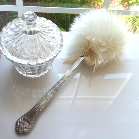 Cream Powder Puff Wand - SOLD OUT - soft creamy ivory lolli puff with handle - silky soft plush by Bonny Bubbles
