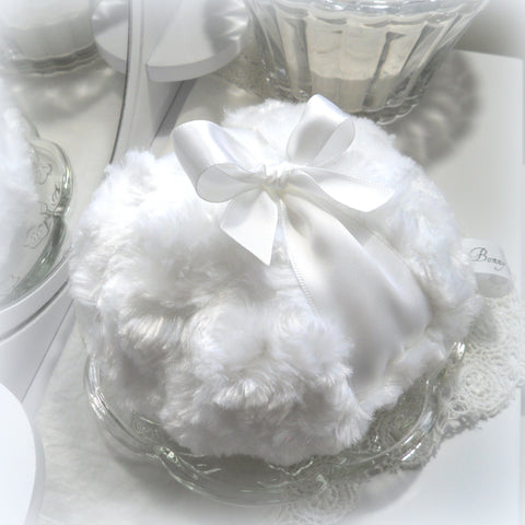 white satin powder puff
