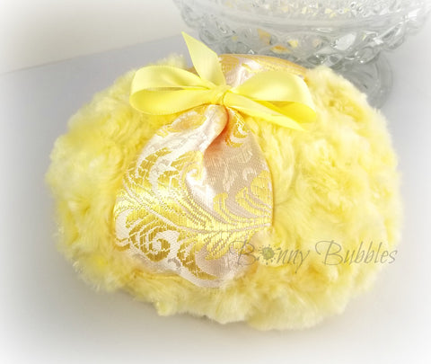 yellow brocade powder puff
