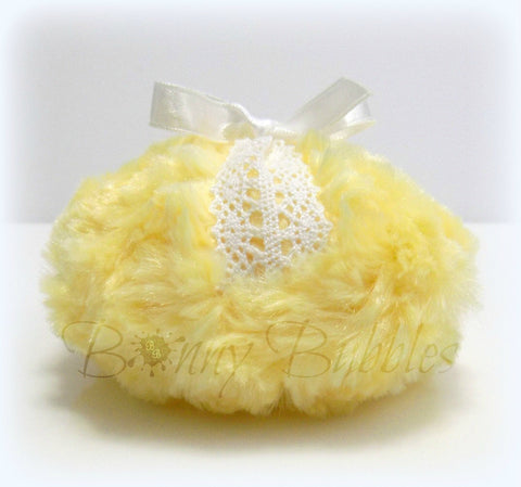yellow lace powder puff