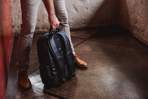 Genuine Leather Laptop Backpack NW082 Black Edition