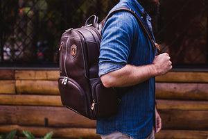 Genuine Leather Laptop Backpack NW072A-IP Black