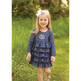 Monogrammed Chambray Ruffle Dress