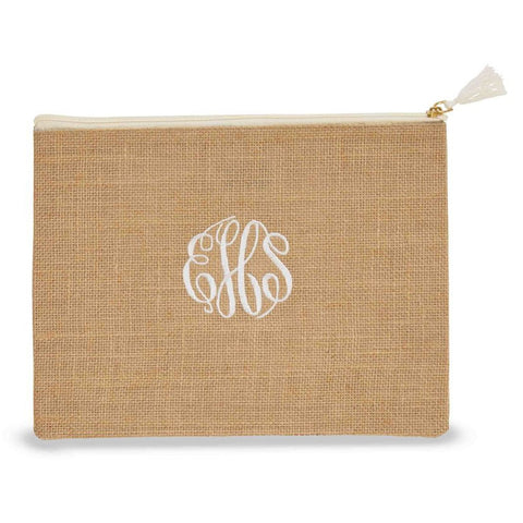 Monogrammed Jute Carry-All Case