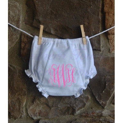 Monogrammed Ruffle Baby Bloomers