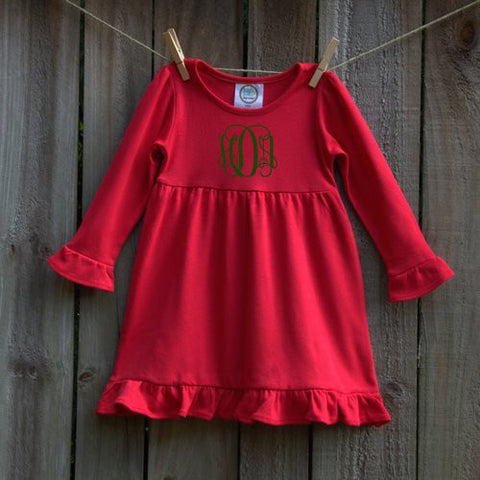 Monogrammed Girl's Long Sleeve Ruffle Dress