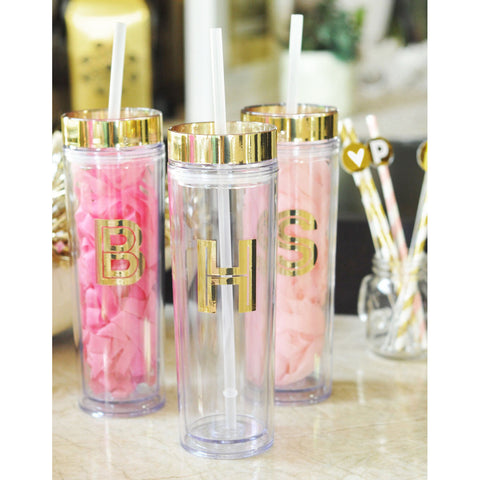 Monogramed Gold Single Initial Acrylic Tumbler