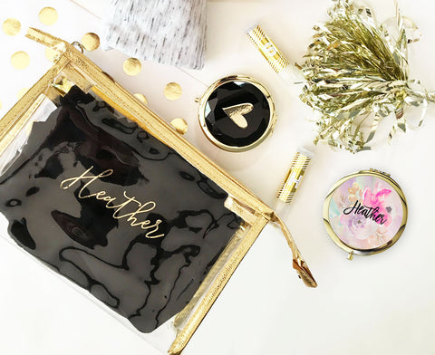 Monogrammed Gold Cosmetic Bag