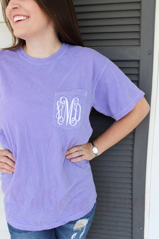 Monogrammed Comfort Colors Short Sleeve Pocket T-Shirt