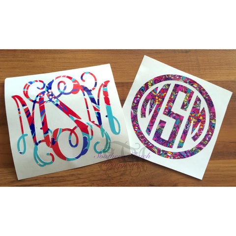 Monogrammed Lilly Pulitzer Inspired Vinyl Decal Southern