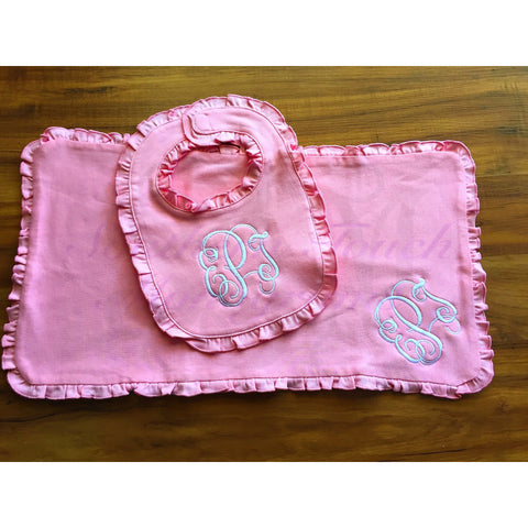 Monogrammed Ruffle Baby Bib and Burp Cloth Set