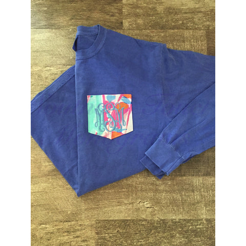 Monogrammed Lilly Pulitzer Pocket Long Sleeve Comfort Colors Tshirt