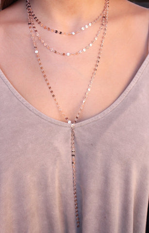 Rose Gold Triple Layer Metal Necklace