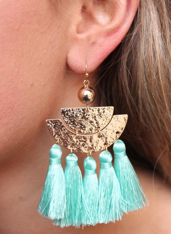 Hammered Metal Drop Earring With Mint Tassels