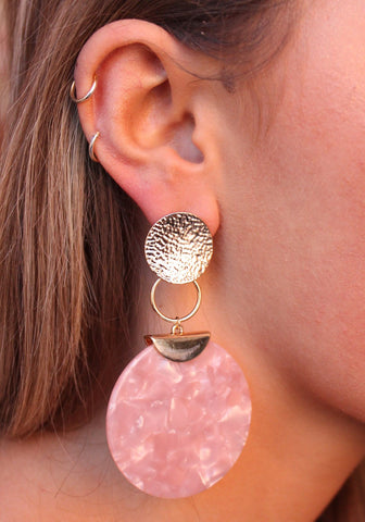 Hammered Metal Post With Rose Resin Circle Drop Earring