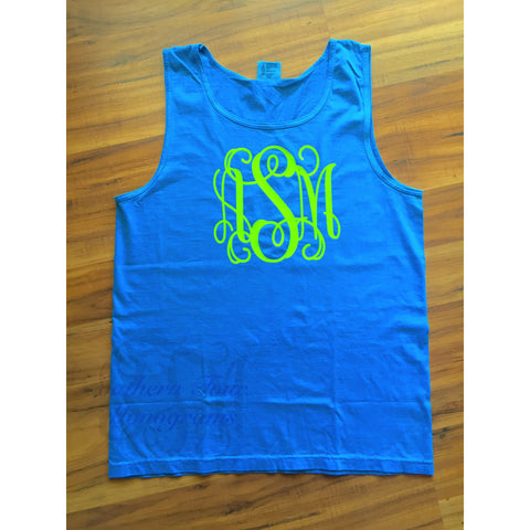 Monogrammed Comfort Colors Tank Top with Large Monogram