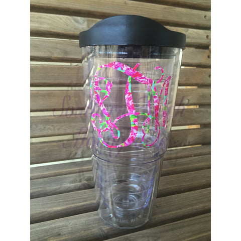 Monogrammed Lilly Pulitzer Inspired 24 oz Double Wall Acrylic Tumbler