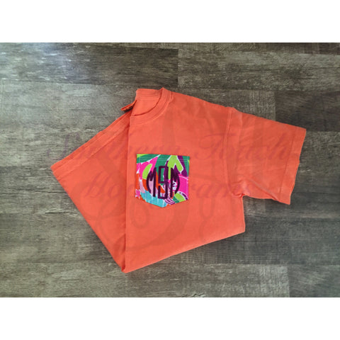 Monogrammed Lilly Pulitzer Pocket Short Sleeve Comfort Colors T-shirt