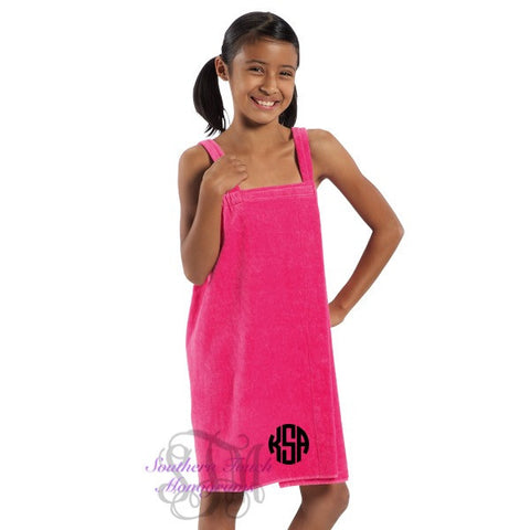 Monogrammed Girl's Terry Spa Wrap