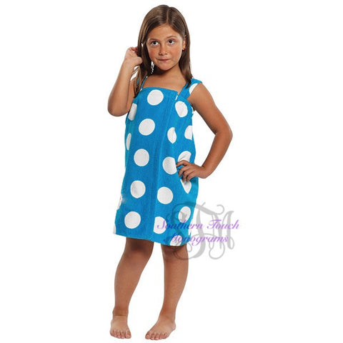 Monogrammed Girl's Polka Dot Spa Wrap