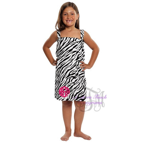 Monogrammed Girl's Animal Print Spa Wrap