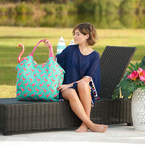 Monogrammed Tickled Pink Beach Bag