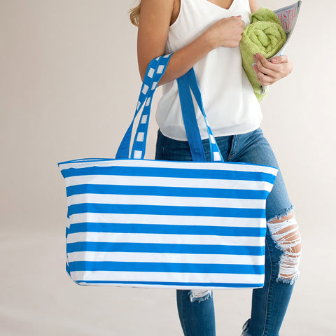 Monogrammed Electric Blue Stripe Ultimate Tote Bag