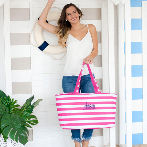 Monogrammed Hot Pink Stripe Ultimate Tote Bag