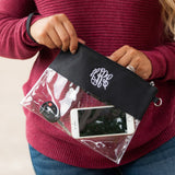 Monogrammed Black Game Day Clear Purse