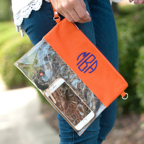 Monogrammed Orange Game Day Clear Purse