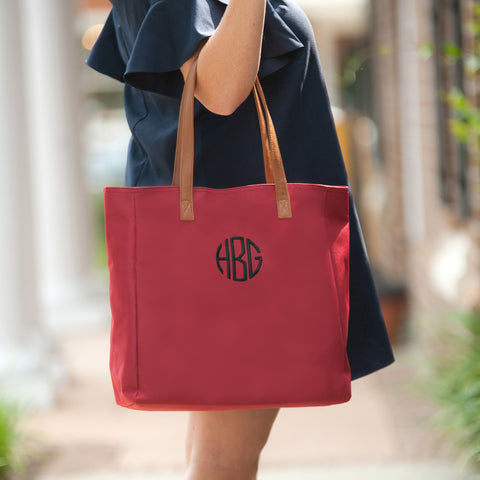 Monogrammed Garnet Game Day Tote Bag