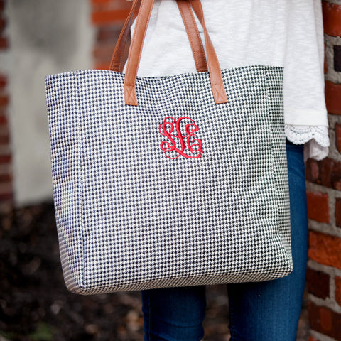 Monogrammed Houndstooth Game Day Tote Bag