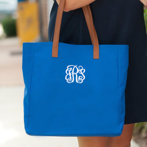Monogrammed Royal Blue Game Day Tote Bag