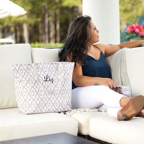Monogrammed Natural Mosaic Tote Bag