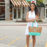 Monogrammed Mint and Cork Purse