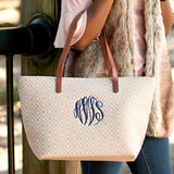 Monogrammed Tan Diamond Purse