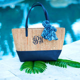 Monogrammed Navy and Cork Purse