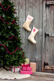 Monogrammed Gold Stripe Christmas Stocking