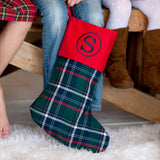 Monogrammed Tartan Plaid Christmas Stocking