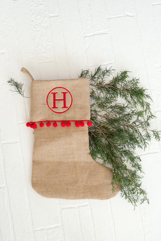 Monogrammed Red Pom-Pom Burlap Christmas Stocking