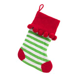 Monogrammed Green Stripe Pom-Pom Knit Christmas Stocking