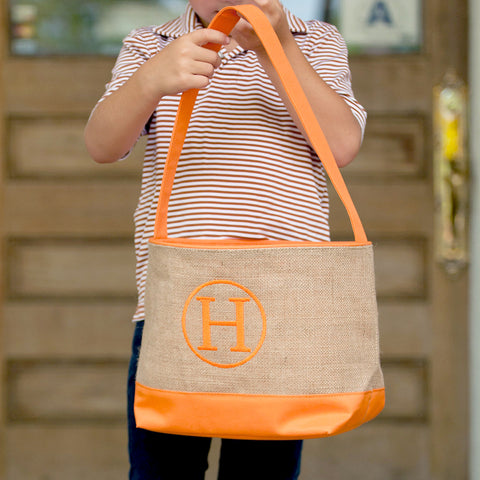 Monogrammed Orange Burlap Basket