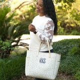 Monogrammed Natural Leopard Tote Bag