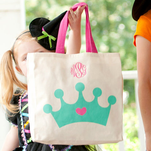 Monogrammed Crown Canvas Tote Bag