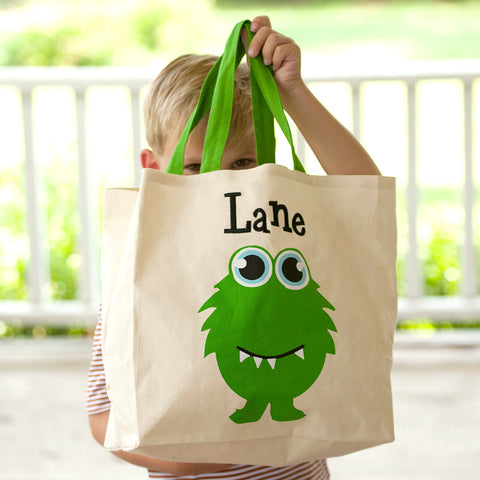 Monogrammed Monster Canvas Tote Bag