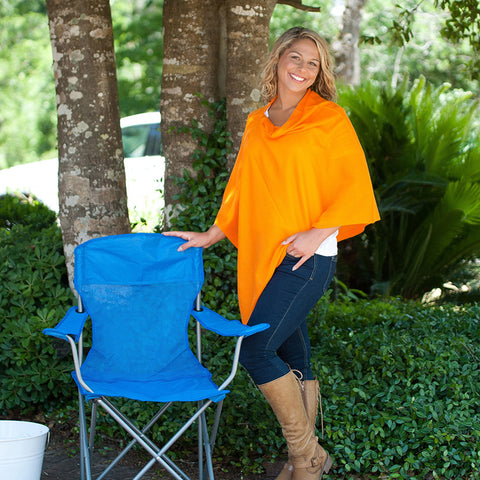 Monogrammed Orange Poncho