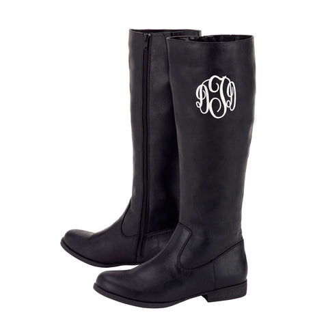 Monogrammed Black Boots
