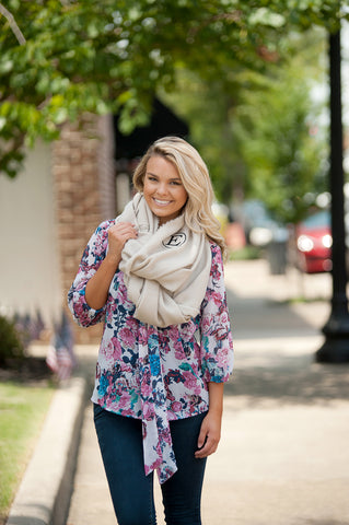 Monogrammed Creme Infinity Scarf