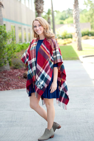 Monogrammed Navy and Garnet Plaid Shawl